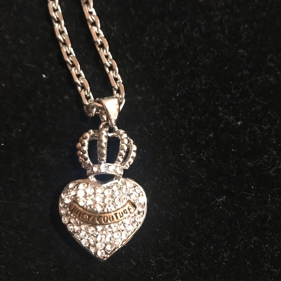 Juicy Couture silver rhinestone heart necklace